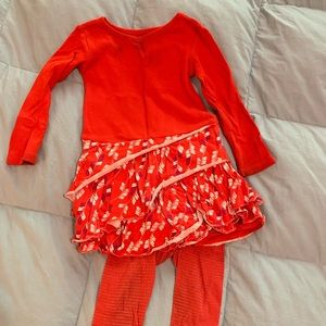 Tea Collection red baby girl play dress set 12-18